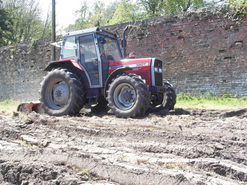 Tractor rotavating the field